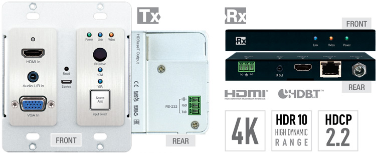 4k 2x1 poh/hdbt/hdmi/vga wall-plate switcher, scaler & extender with hdbt  output (includes kit wall-plate tx/rx 4k/70meters 1080p/100meters)