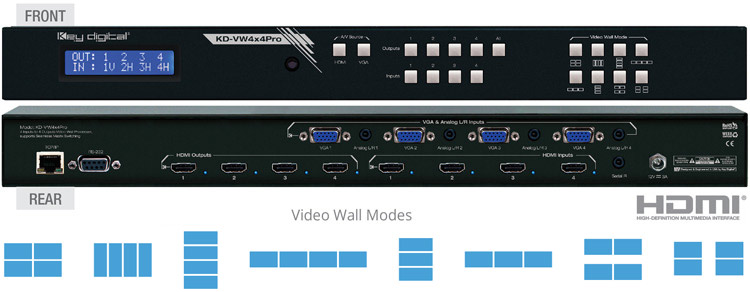 KD-VW4x4Pro - 4x4 Video Wall Processor, Seamless