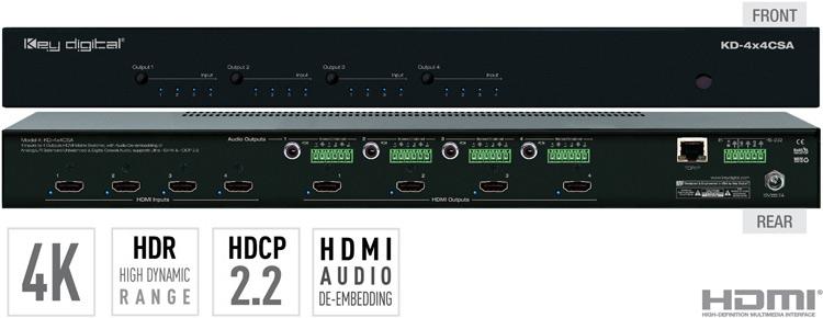 KD-MAX8x8 - 8x8 Audio Matrix Switcher with built-in Audio DSP